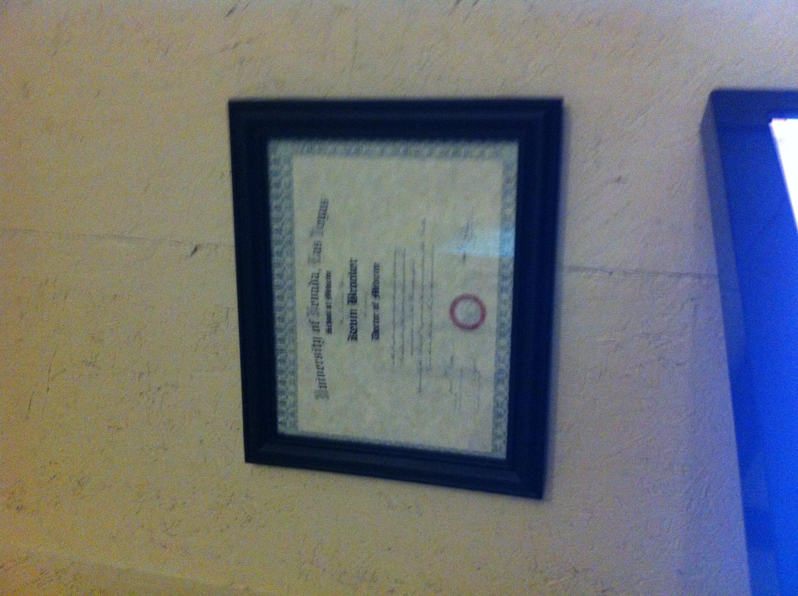 Kevin's diploma